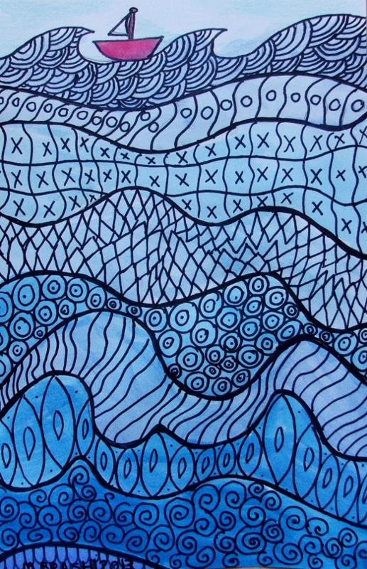 student drawing of a boat on a river of pattern